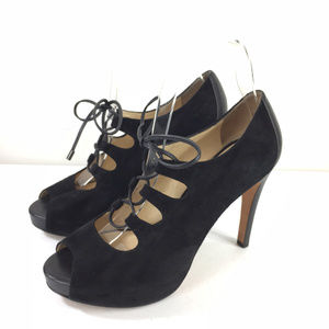 Talbots 7 M Black Suede Leather High Heel booties